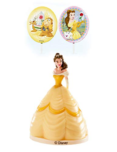 Unbekannt Belle-Dekoset Disney Kuchendeko 3-teilig gelb Einheitsgröße