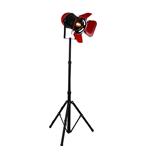 Lámpara de pie Lámpara de pie Industrial Retro Rojo/Negro Reflector Altura Ajustable Pantalla cerrable Cuerpo Giratorio E27 Pintura para Hornear de un Solo Cabezal Lámpara de pie con trípode de hier