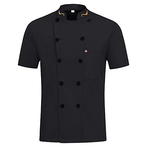 Neue Ankunft Unisex Männer Frauen Kochjacke Zweireiher Kurzarm Restaurant Arbeitskleidung Sommer Küche Kochhemd,Black,XXL