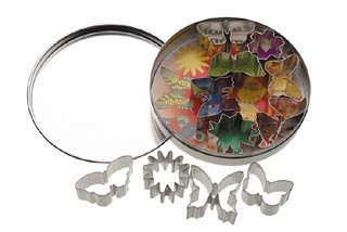 KitchenCraft Let's Make Mini Metal Cookie Cutters with Storage Tin - Assorted Flower / Butterfly Designs (11-Piece Set)