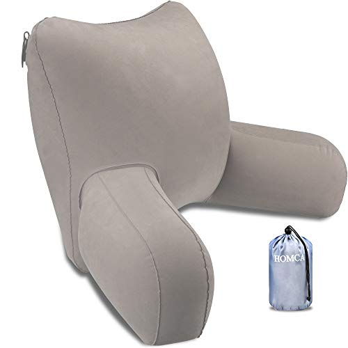 HOMCA Reading Pillow, Inflatable Backrest Pillow with Arms Great as Travel Camping Pillow for Lumbar...