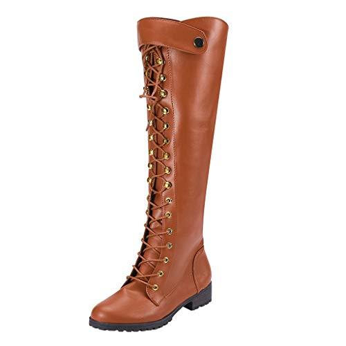 Geilisungren Schuhe Damen Overknees Stiefel Langschaft Nieten PU Leder Schnürstiefel mit Niedriger Blockabsatz Frauen Vintage Gladiator Lang Boots Übergrößen Motorradstiefel Cowboystiefel