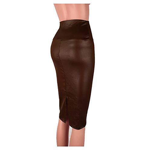 Falda Mujer Larga Elástica Cuero Artificial, Morbuy Corta Cintura Alta hasta La Rodilla Retro Falda Verano Fashion Midi Faldas