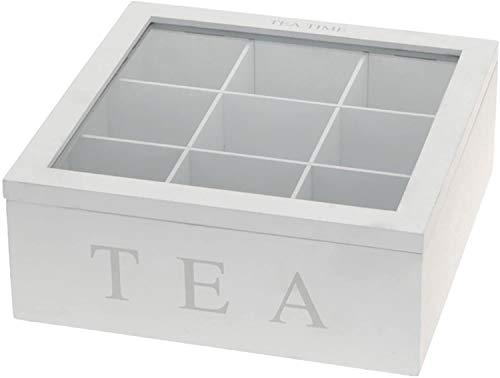 AM Teebox aus Holz, Teekasten in den Farben weiß oder schwarz, Teekiste mit 9 Fächern, große Teebeutelbox, Auswahl: weiß