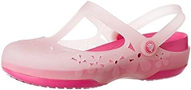 Crocs Women's Carlie Flower Clog, Cotton Candy / Fuchsia, 7