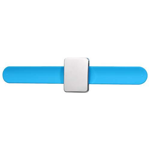 EXCEART Alfiletero Magnético Brazalete de Silicona Brazalete Pinza para El Cabello Bobby Pin Aguja de Coser Organizador para Hacer Coser Peluquería Azul