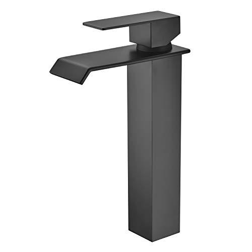 WISTUM Waschbeckenarmatur Hoch, Wasserfall Waschtischarmatur Waschtischbatterie Matt Schwarz