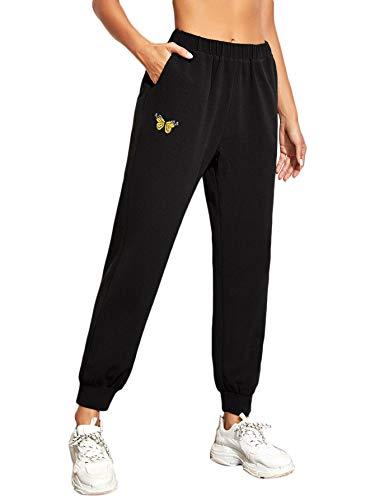 SweatyRocks Women's Juniors Soft Jogger Pants Drawstring Waist Workout Sweatpants Black X-Large