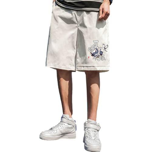 Katenyl Pantalones Cortos Informales Deportivos de Baloncesto Holgados de Moda con Estampado de Tendencia de Talla Grande para Hombre 3XL