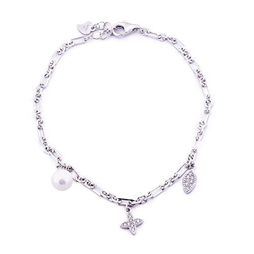 Pulsera con tres colgantes de plata 925 y circonitas blancas de corte diamante y perla. Pulsera con perla, cruz y hoja colgantes. Longitud ajustable de 17 a 21 cm