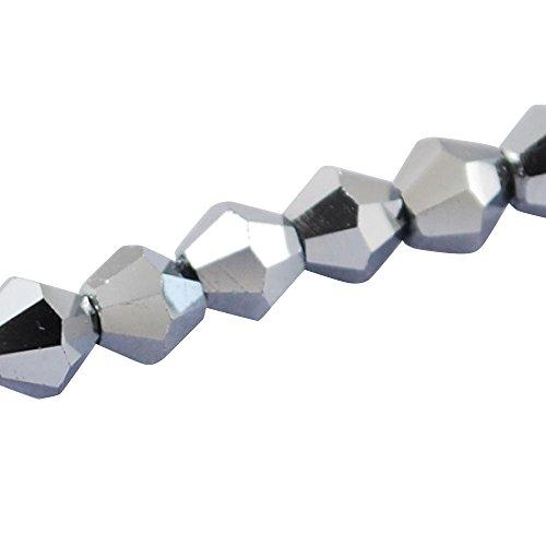 PandaHall-Abalorios de Cristal electrochapa, Tallado, Tupi, Plata, 4x4mm, Agujero: 1 mm, sobre...