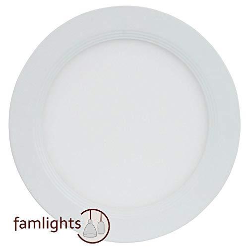 famlights Einbauleuchte 154mm LED rund, Aluminium, weiß   Warmweiß, Innen Einbauspot, Deckenstrahler, Deckeneinbauleuchte, Spot, Wohnzimmerstrahler, Schlafzimmer Deckeneinbaulampe, Einbauleuchte
