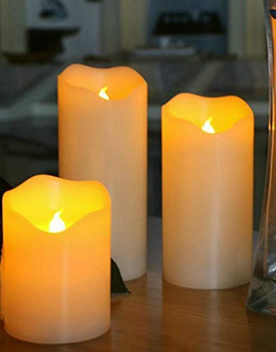Al aire libre Conjunto de 3 sin llama pila AAA Pilar llevó la vela de cera de parafina Borde ondulado Lámpara de la noche de bodas Inicio 7.5CM decoración del partido (Dia.) - Ámbar Temporizador