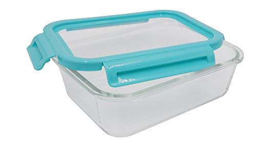 Steuber - Recipiente hermético con tapa flexible (900 ml, cristal rectangular, con cierre de clic)