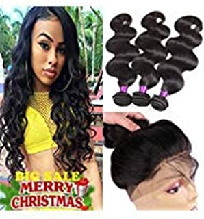 Indian Virgin Hair 360 Lace Frontal with Bundles Body Wave 8A Indian Virgin Hair Body Wave Hair Bundles with 360 Frontal Closure Body Wave (14 16 18 +12 360frontal, Natural Color)