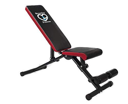 Bramley Power Justerbar fitness viktbänk hemträning gym tyngdlyftning sittande ab bänk platt lutning minskning multianvändning träningsbänk
