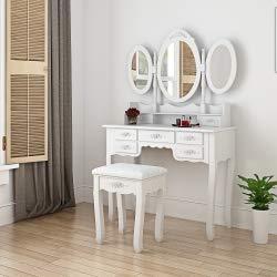 Panana - Tocador Tres Espejos Ovalado Plegable con Taburete Acolchado 7 Cajones Almacenaje Tallada (Blanco)