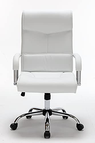 FULONG Adjustable Ergonomic Swivel Task Chair with Lumbar Support, High Back White Office Desk Chair with Padded Armrests