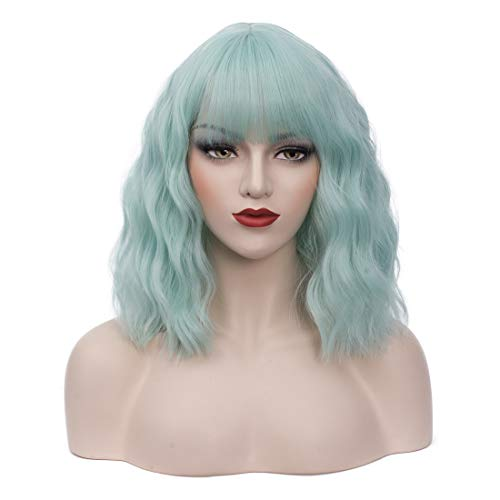 """BUFASHION 14"""" Women Short Wavy Curly Wig Light Green Bob Wig Cosplay Halloween Synthetic Wigs Wigs With Neat Bang Wig With Free Wig Cap (Light Green 1)"""