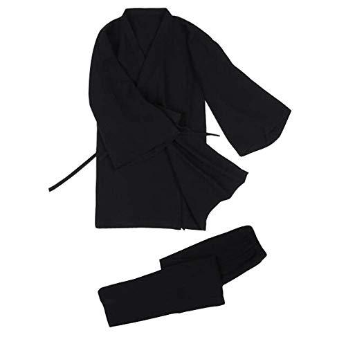 Ropa de hogar de Estilo japonés Algodón Hombres Pijamas Kimonos, Tops + Pantalones, C05