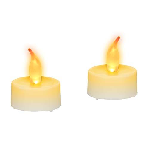 Relaxdays LED-Teelicht 2er Set, stimmungsvolle Partylichter, LED-Flackerlichter mit gelber Flamme, mit Batterien, weiß