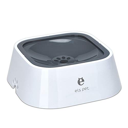 TOWEAR Pet Floating Water Bowl,1.5L Slow-Down Water Feeder Fountain No Spill Anti-Overflow Anti-Choking Automatic Water Food Bowl for Dog Cat Puppy Animal Feeding (Grey)