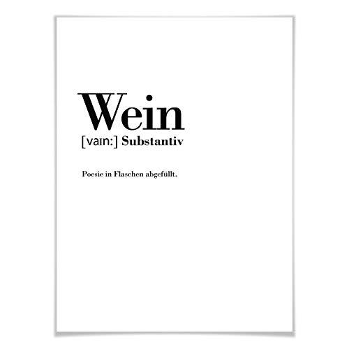 Poster Grammatik - Wein Definition lustig Wort Erklärung Duden Buchstaben Trend Wall-Art - 30x40 cm