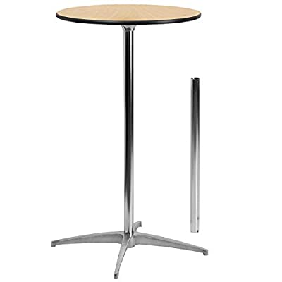 Flash Furniture Round Wood Cocktail Table with 30-Inch and 42-Inch Columns