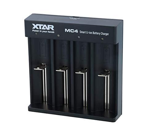 XTAR MC44alloggiamenti Ioni di Litio, Caricabatteria da auto USB (5V/2A) con Adattatore di Alimentazione 10440–26650NERO