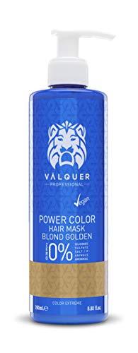 Válquer Professional Mascarilla Power Color cabellos teñidos. Vegano y sin sulfatos (Cabello rubio dorado). Potenciador color pelo- 275 ml