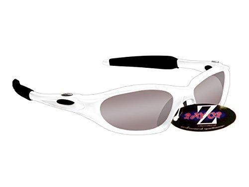 Rayzor Professionelle Leichte UV400 Weiß Sports Wrap Segelsport Sonnenbrille, Mit einem Smoked Mirrored Blend Lens.