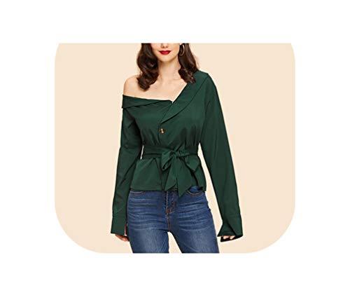 Groen Asymmetrische Hals Taille Blouse Riem Shirt Vrouwen Herfst Lange Mouw Tops en Blouses
