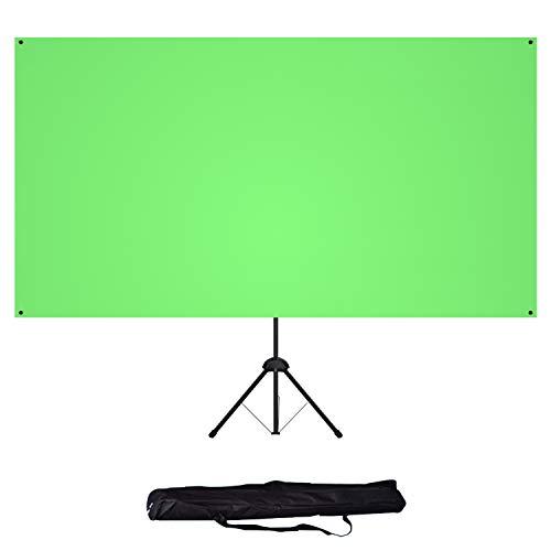 NEUE DAWN 80 Zoll Green Screen mit Ständer Hintergrund Chroma-Key 183 x 106 cm 16:9 tragbarer Rückwand Leinwand Stativ zur Hintergrundentfernung für Fotografie Studio Live Spiel Streaming Greenscreen