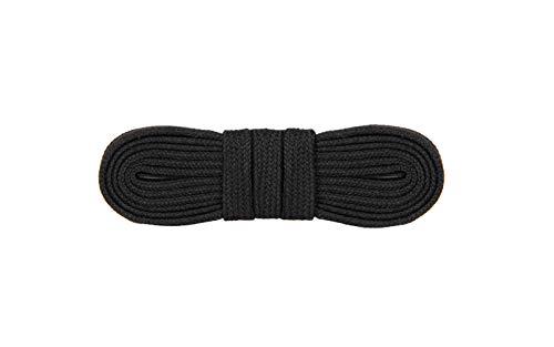 WorkerWalker Flache Schnürsenkel für Sicherheitsschuhe, schwer entflammbares Meta Aramid Nomex mit haltbarer Metall-Pinke, HD Schnürsenkel Pro, 1 Paar (91 - Schwarz / 110 cm - 43 inch)
