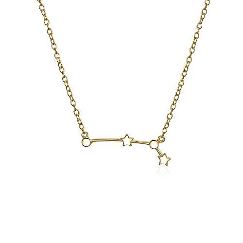 Astro Astrologie Sternzeichen Widder Sternbild Sterne Halskette Für Damen Jugendlich 14Kt Vergoldet Sterling Silber