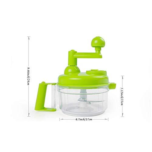 Procesador de alimentos manual para frutas y verduras con manivela - Picadora de cebolla - 4 cuchillas, 4 velocidades