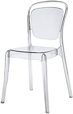 Amazon.com - Modern Contemporary Dining Chair, Clear, Plastic - Chairs