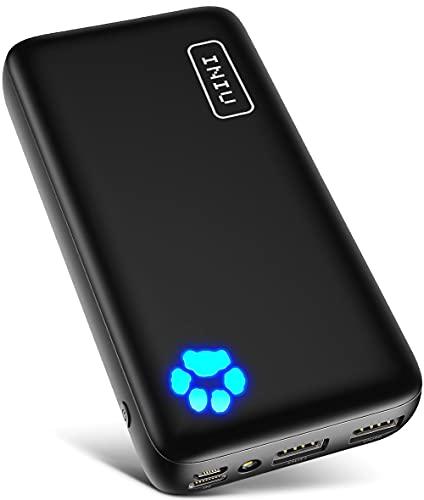 Power Bank, INIU USB C 20000 mAh Externer Akku, 3A-Ausgänge Handy Powerbank mit Taschenlampe für iPhone 12 11 Max Xs X 8 Plus X Samsung S20 S10 Huawei Oneplus Xiaomi Google iPad Airpods Android etc
