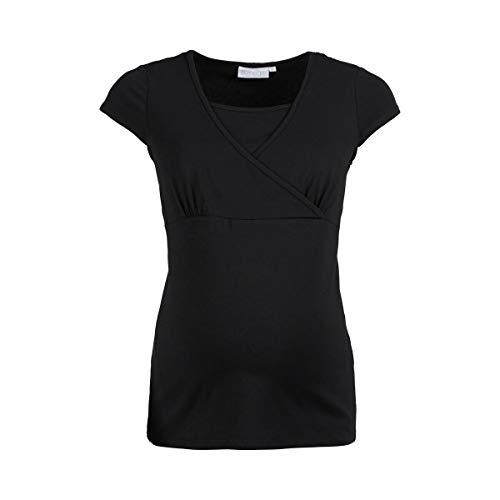 2HEARTS T-Shirt de Grossesse et d'allaitement Cache-Coeur T-Shirt de Grossesse T-Shirt de Grossesse, Noir