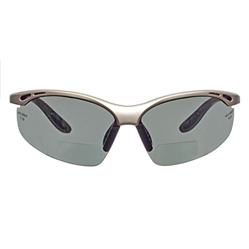 voltX 'CONSTRUCTOR' BIFOCALE VEILIGHEIDSLEESBRIL (GEPOLARISEERD/inclusief microvezel etui +3.0 Dioptrie) CE EN166F Gecertificeerde/Fiets- of Sportbril inclusief veiligheidskoord + UV400 lens met anti-mist coating