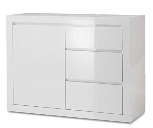 BIM Furniture Como Bianco II dressoir highboard wit geheel in hoogglans gelakt een plank, drie laden