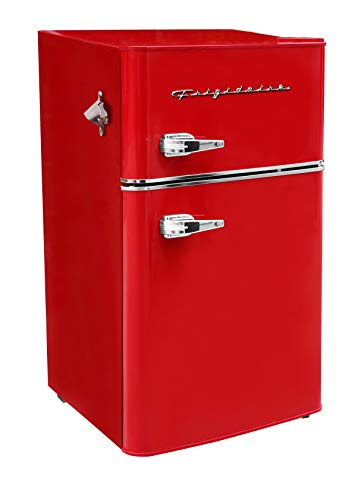 Frigidaire EFR840-RED 3.2 Cu Ft Red 2 Door Retro Bar Fridge with Side Bottle Opener