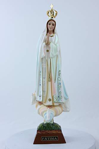 Desconocido Estatua de la Virgen de Fátima con Acabados Brillantes Altura cm. 35. Adecuado para ambientes Exteriores e Interiores. Fabricado en Resina. Fabricado y Fabricado en España.