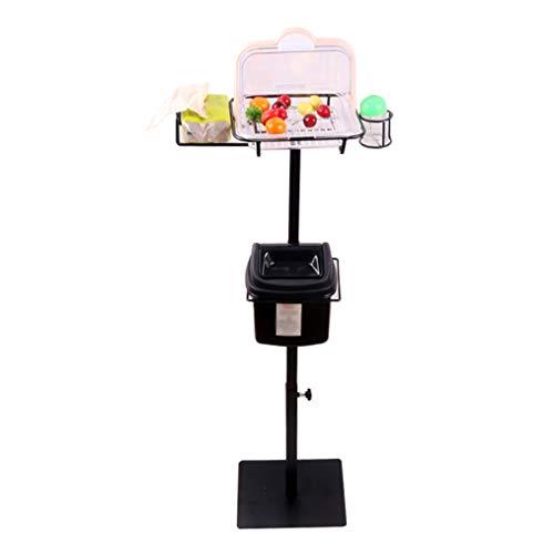 Unbekannt Lebensmittel-Testständer aus Edelstahl für Supermärkte, Obst-Verkostungsständer mit Mülleimer, Kuchen-Snack-Verkostungsständer mit Zahnstochern, 60-110 cm, höhenverstellbar