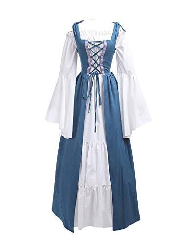 LaoZanA Donna Vintage Rinascimentale Medievale Costume Abito Vestito Gotico Fancy Cosplay Azzurro Chiaro S