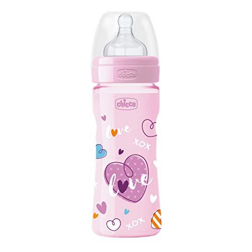Chicco Biberon Benessere Colorato Bambina in Silicone, Flusso Medio, 250 ml, Rosa