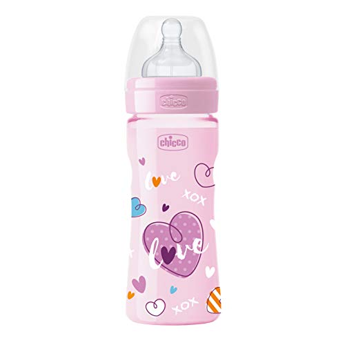 Chicco Babyfläschchen Well-Being COLORED, 250 ml, mittlerer Fluss, 2m+, Silikon, Girl (Motiv sortiert )