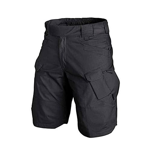 AHURGND 2021 Pantalones Cortos tácticos a Prueba de Agua para Hombres, Shorts de Carga Quick Secos Transpirables, para Hombres Senderismo y Pesca al Aire Libre (Color : Negro, tamaño : M)