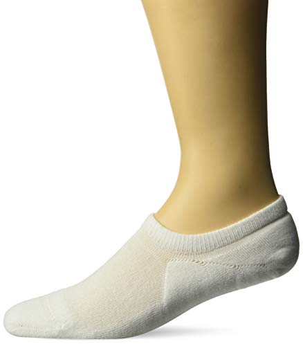 Amazon Essentials Men's 6-Pack Stay in Place Cotton Cushioned Sneaker Liner Socks, White, Shoe Size: 6-12