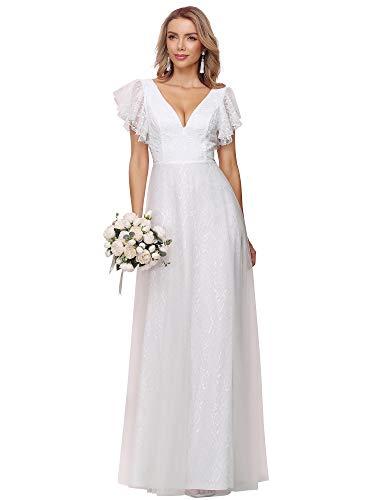 Ever-Pretty Vestito da Cerimonia Donna Linea ad A Pizzo Tulle Scollo a V Maniche Corte Lungo Empire Waist Vestito da Sposa Bianco 38EU